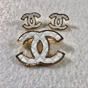 Authentic CHANEL Brooch & Earrings Set